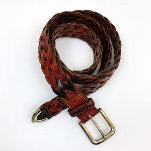 Cole Haan Vintage Woven Patterned Leather Belt
